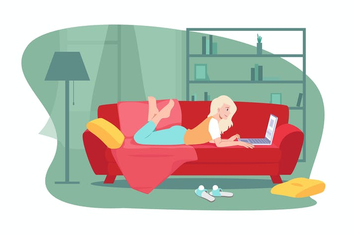 Thumbnail for Young girl lies on a sofa at home working online