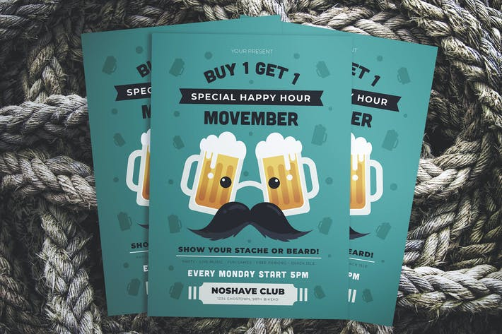 Thumbnail for Movember Happy Hour Flyer