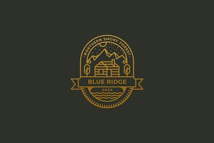 Cabin, blue ridge, camping vintage logo template
