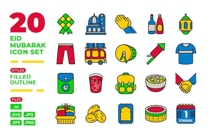 Eid Mubarak Icon Set (Filled Outline)