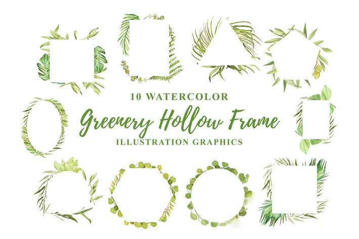 Thumbnail for 10 Watercolor Greenery Hollow Frame Illustration