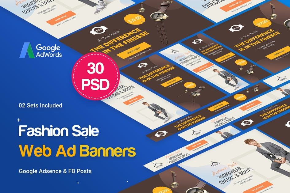 Download Fashion Sale Banners Ad - 30 PSD [02 Sets] by iDoodle