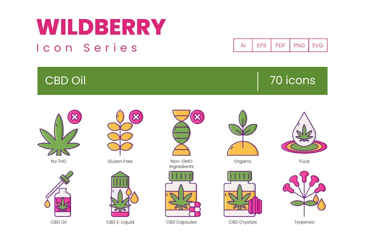 Thumbnail for 70 CBD Oil Icons - Wildberry Series