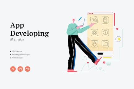 Escena de ilustración de Gráficos de desarrollo de Aplicación