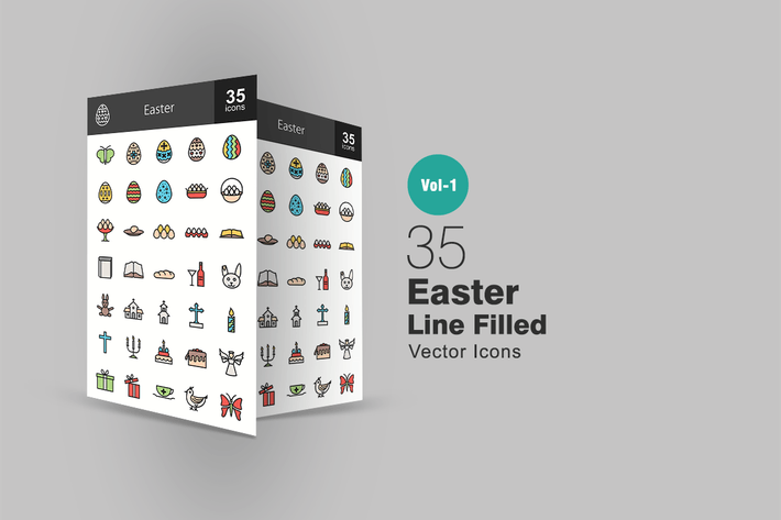 Cover Image For 35 Easter Line Filled Icons