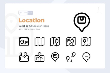 Smoothline - 45 Location icon set