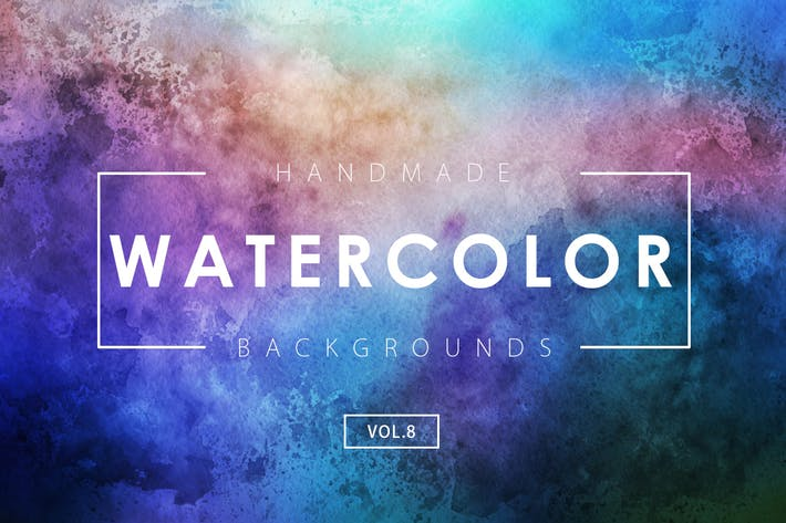 Cover Image For Handmade Watercolor Backgrounds Vol.8