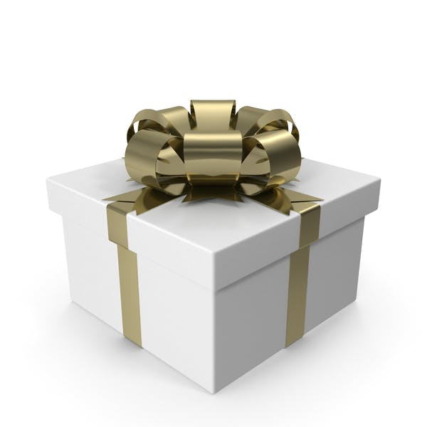 Thumbnail for White Gift Box with Gold Bow