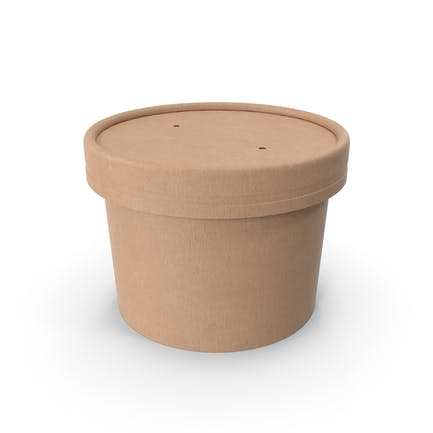 Kraft Paper Food Cup with Vented Lid Disposable Ice Cream Bucket 8 Oz 200 ml