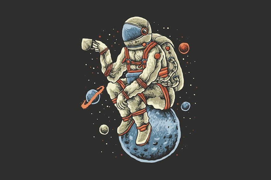 conception d'illustration astronaute de café
