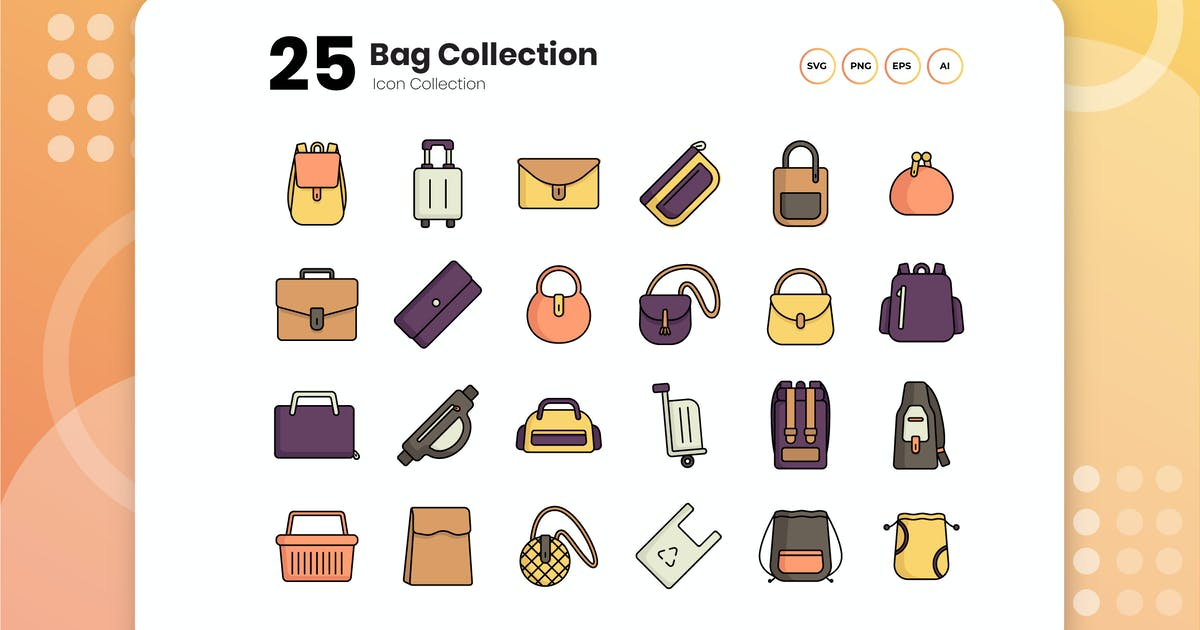Download 25 Bags Collection Flat Icon Set by vectorclans
