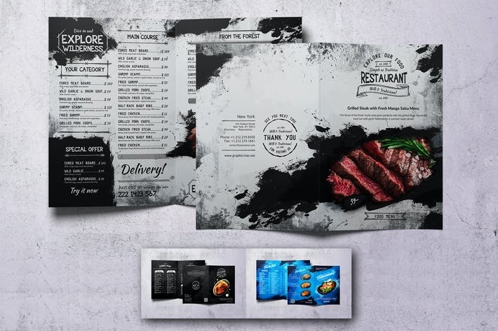Thumbnail for Different Countries Bifold Food Menu Bundle