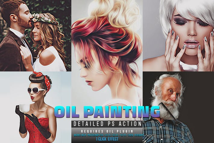 Thumbnail for Detailed Oil Painting Photoshop Action