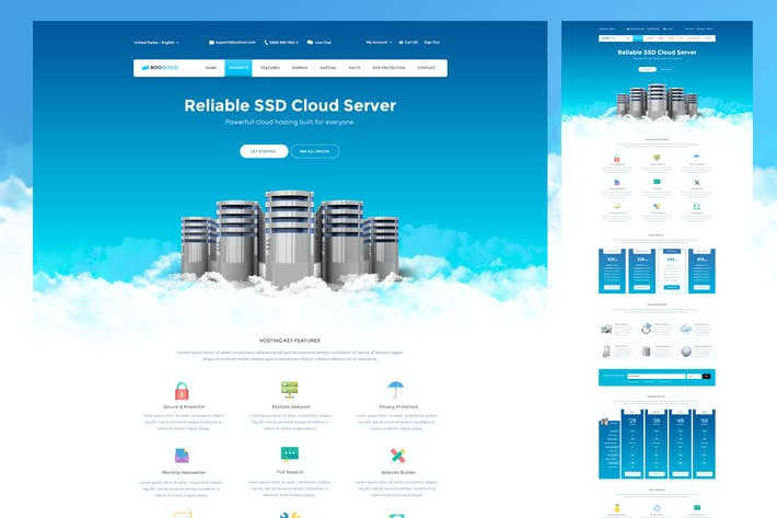 Thumbnail for Cloud Hosting PSD Template