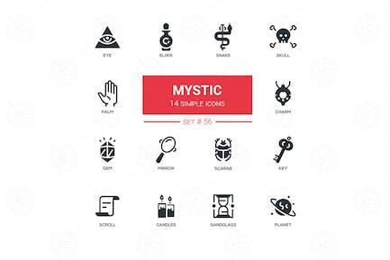 Culture theme, mystic - line design icons set