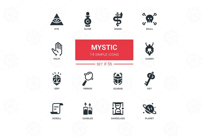 Cover Image For Culture theme, mystic - line design icons set