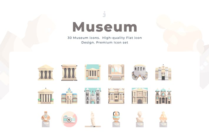 Thumbnail for 30 Museum Icon set - Flat