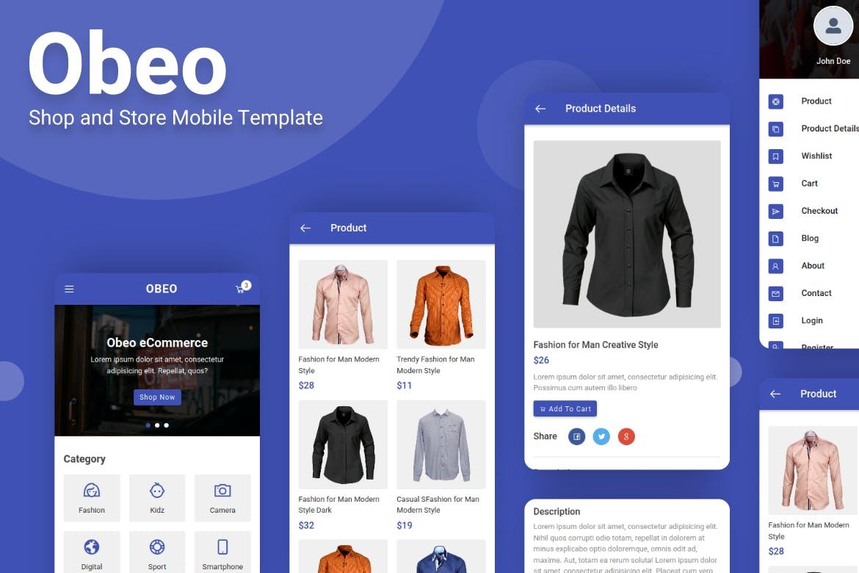 Obeo mobil mağaza e-ticaret tasarımı