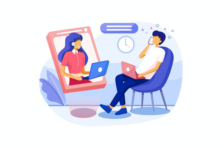 Thumbnail for Mann mobile Gespräch mit Unterstützung junge Frau