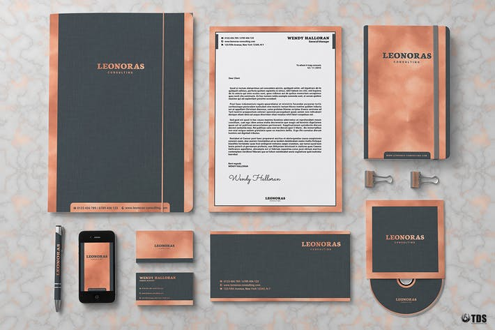 Thumbnail for Rose Gold Corporate Identity Template