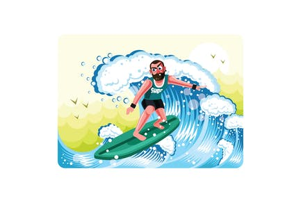 Surfers in Action Illustration Vector