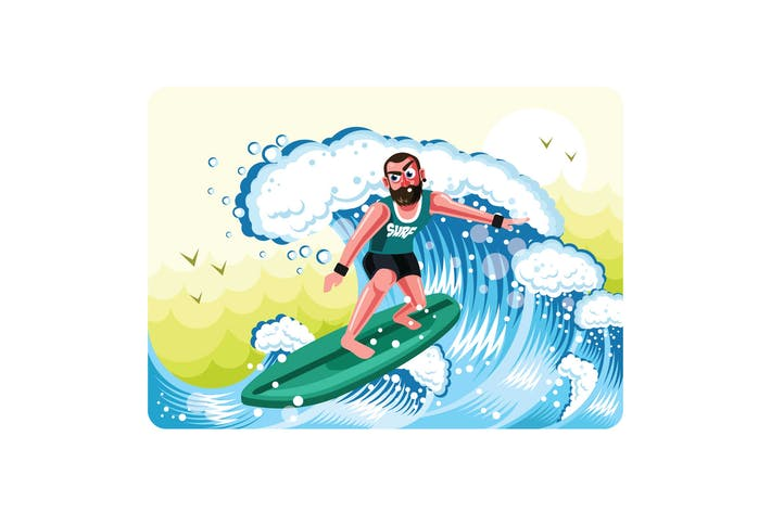 Thumbnail for Surfers in Action Illustration Vector