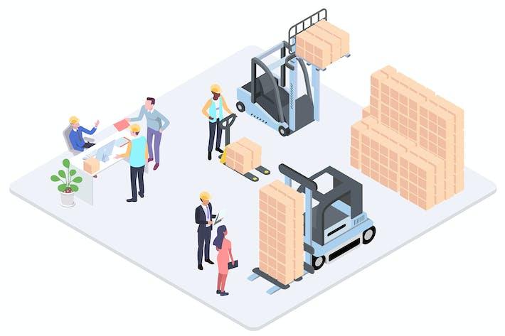 Thumbnail for Warehouse System Isometric Illustration - G1
