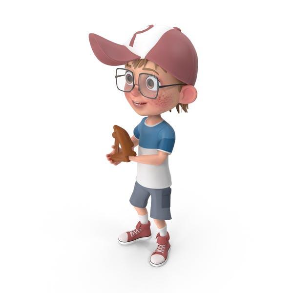 Cartoon Boy Harry Playing Baseball