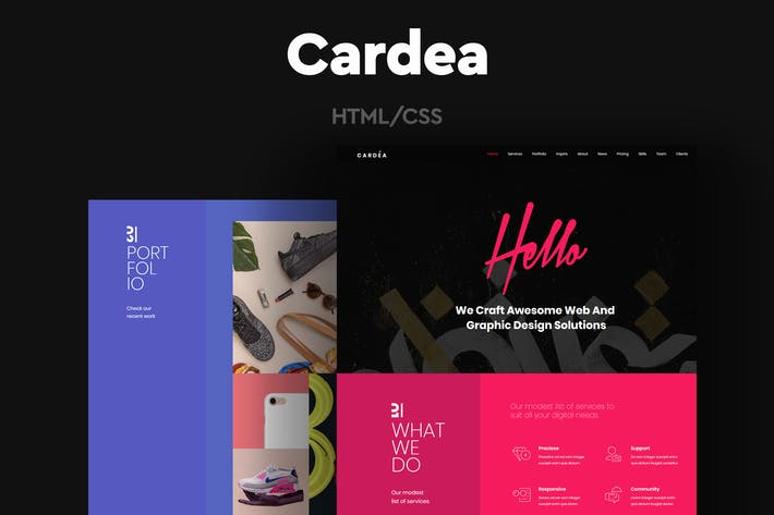 Cardea - Colorful Portfolio One Page Template