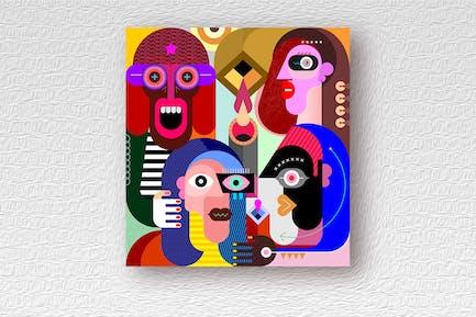 Four People Portraits Vektor illustration