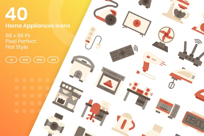 Thumbnail for 40 Home Appliances Icons Set - Flat