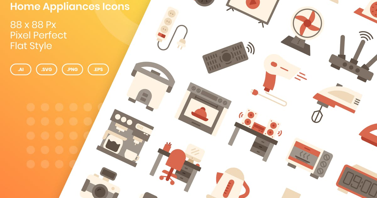 Download 40 Home Appliances Icons Set - Flat by kmgdesignid