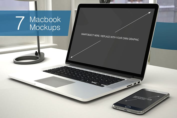 Thumbnail for Laptop Mockup - 7 Poses