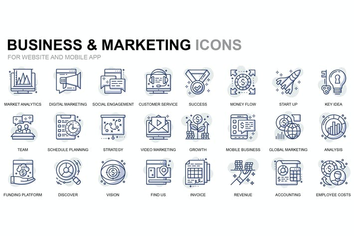 Thumbnail for Business and Marketing Thin Line Icons