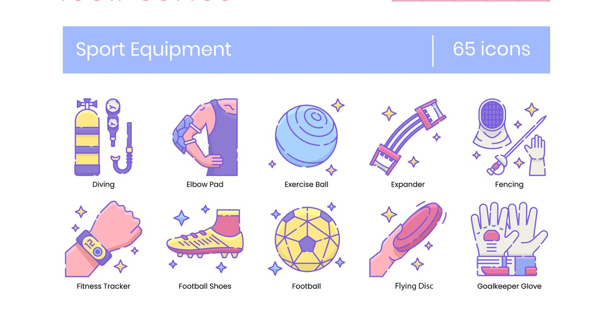 Download 65 Sport Equipment Line Icons by Krafted