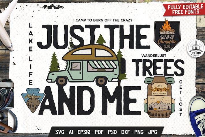 Badge d'aventure forestière, Logo Vecteur Camping rétro