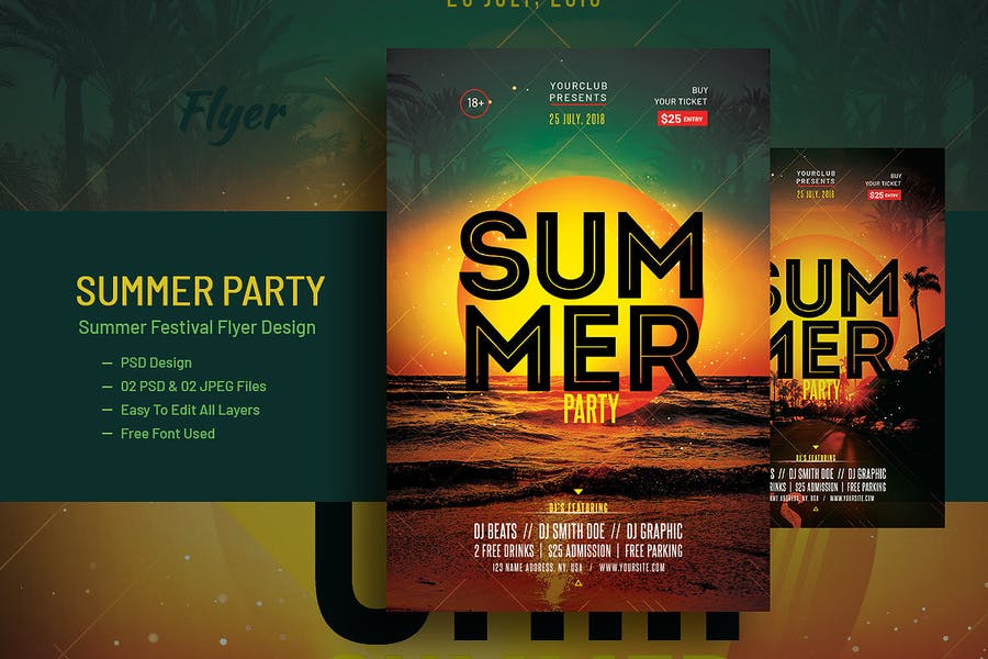 Pool Party and Summer Festival Flyer V-14