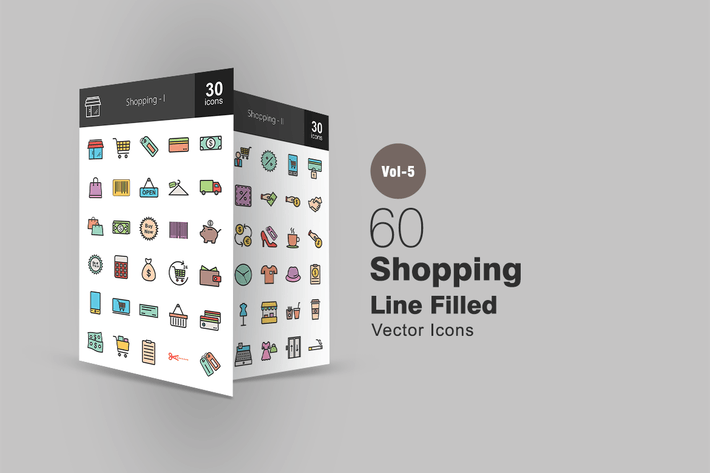 Thumbnail for 60 Shopping Line Filled Icons