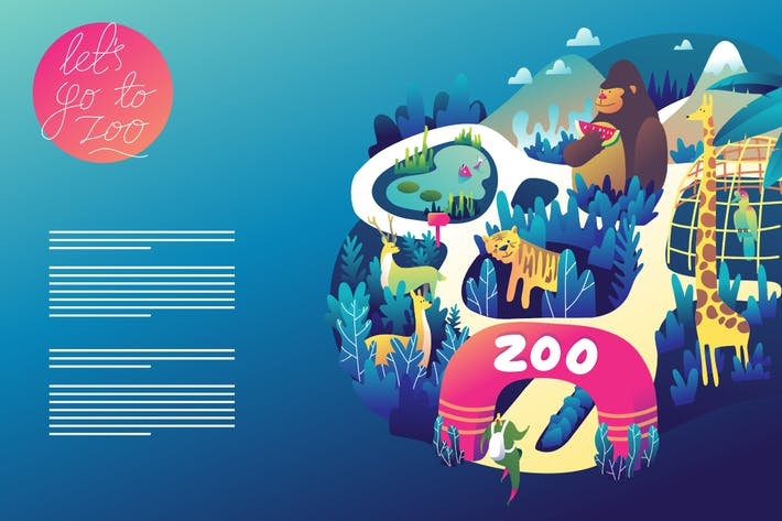 Thumbnail for Zoo graphic web template design