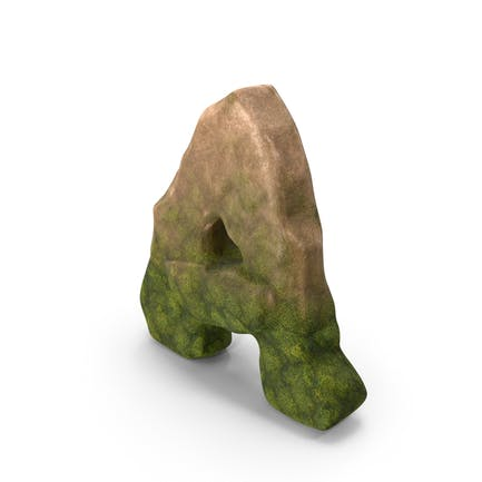Letter A Mossy Stone