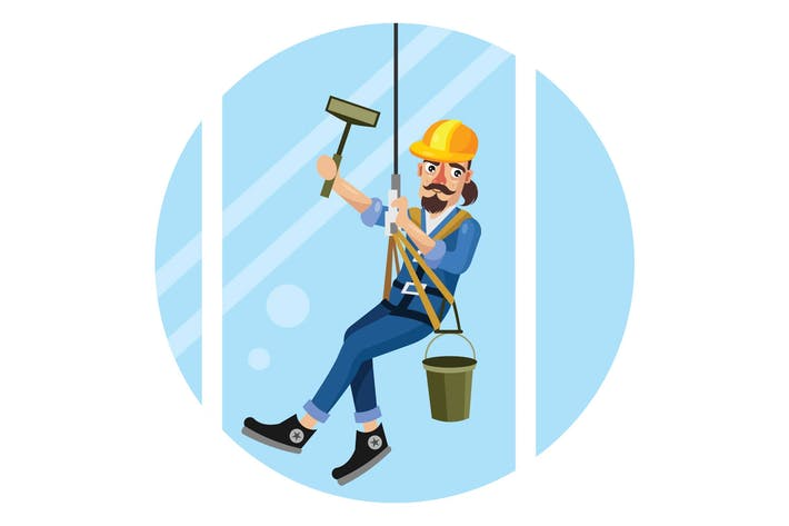Window Washer High Building Vector Illustration