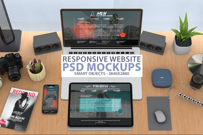 Thumbnail for Responsive Website PSD Mock-up