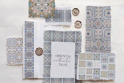 Orientalische authentische Fliesen - Aquarell Set