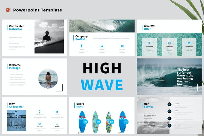 Thumbnail for High Wave - Surfing Powerpoint Template