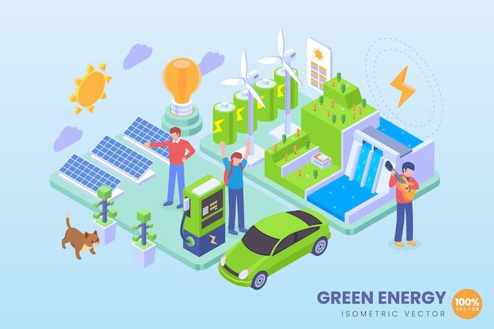 Thumbnail for Isometric Green Energy Concept Illustration