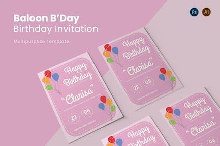 Baloon B'Day Birthday Invitation