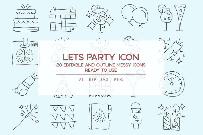 Thumbnail for Lets Party Outline Icons Set