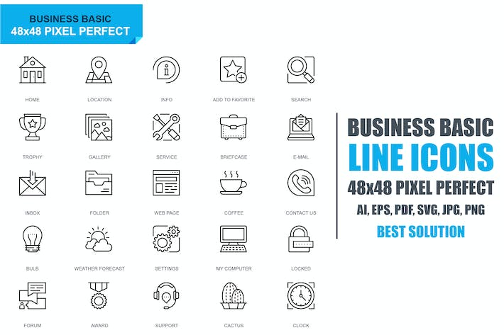 Thumbnail for Simple Set Basic Line Icons