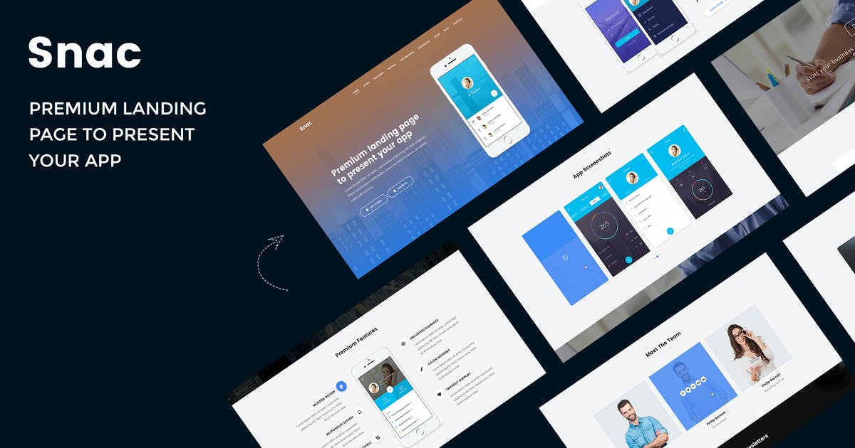 Download Snac - Premium Responsive App Landing Page by AuThemes