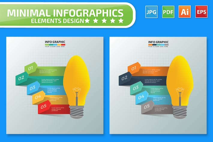 Thumbnail for Lightbulb Infographics Design